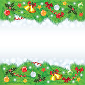 Christmas frame with decorated fir-trees — Stock Vector