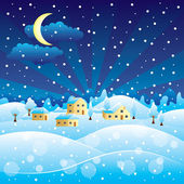 Winter rural landscape with Christmas snowfall — Stock Vector