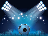 Stadium lights and soccer ball background — Stock Vector