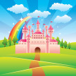 Fairy tale castle vector illustration — Stockvectorbeeld
