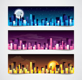 City skylines vector banners — Stock Vector