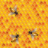 Bees and honeycells seamless background — Vector de stock