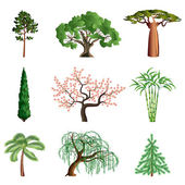 Trees isolated on white vector set — Stock Vector