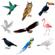 Birds isolated on white vector set — Vettoriali Stock