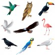 Birds isolated on white vector set — 图库矢量图片