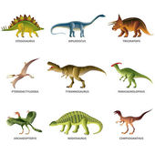 Dinosaurs isolated on white vector set — Stock Vector