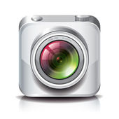 White photo camera icon for apps — Stock Vector