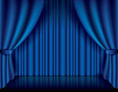 Blue curtain vector illustration — Stock Vector