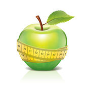 Green apple with measuring tape isolated on white — Stock Vector
