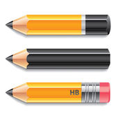 Three pencils vector illustration — Vecteur