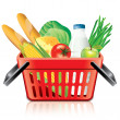 Shopping basket with food isolated on white vector — Stock Vector