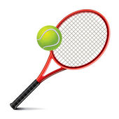 Tennis racket and ball vector illustration — Vector de stock