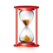 Red transparent hourglass vector illustration — Vector de stock