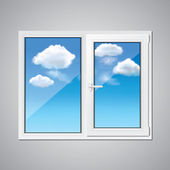 Plastic window and blue sky vector illustration — Stock Vector
