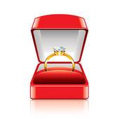 Wedding ring in gift box vector illustration — Stock Vector