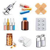 Medical drugs icons vector set — 图库矢量图片