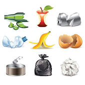 Garbage icons detailed vector set — Stock Vector