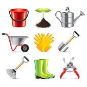 Gardening tools icons vector set — Stock Vector