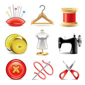Sewing equipment icons vector set — Stock Vector