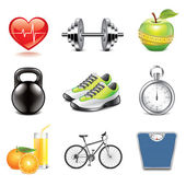Fitness icons photo-realistic vector set — Stock Vector