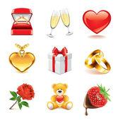 Romantic icons photo-realistic vector set — Stock Vector