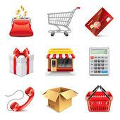 Shopping icons photo-realistic vector set — Stock Vector