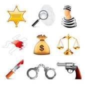 ?rime and law icons vector set — Stock Vector