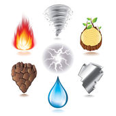 Seven natural elements icons vector set — Stock Vector