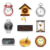 Different clocks icons vector set — Vettoriale Stock