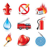 Fire fighting icons vector set — Stock Vector
