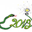 Royalty-Free Stock Vector Image: Green snake 2013 with a sparkler
