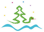 Christmas tree made of snake — Stock Vector