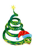Snake in the form of Christmas tree — Stock Vector