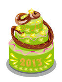 Chocolate cake with a snake — Stock Vector