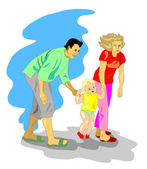 Mom and dad walking with a small child — Stock Vector