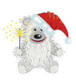 White teddy bear in a Santa Claus hat — Stockvector