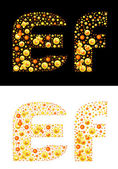 Vector original letters (E and F) of bubbles — 图库矢量图片