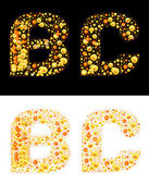 Vector original letters (B and C) of bubbles — Stock Vector