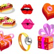 Stock Vector: Set of isolated images for Valentine's Day