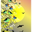 Beautiful background with sun, birds and tree silhouette — Stock Vector