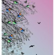 Stock Vector: Beautiful background with birds and tree silhouette