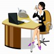 Stock Vector: Business womsitting at table