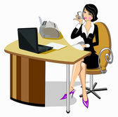 Business woman sitting at the table — Stock Vector