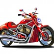 Stock Vector: Realistic red motorcycle