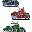Stock Vector: Set of isolated bikes (green, blue and red)