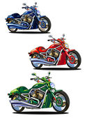 Set of isolated bikes (green, blue and red) — Stock Vector