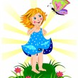 Beutiful little girl and butterfly — Stock Vector #22351235
