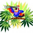 Stock Vector: Funny parrot with telescope on palm