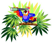 Funny parrot with telescope on palm — Stock Vector
