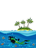 Diver swimming underwater near the island — Stock Vector